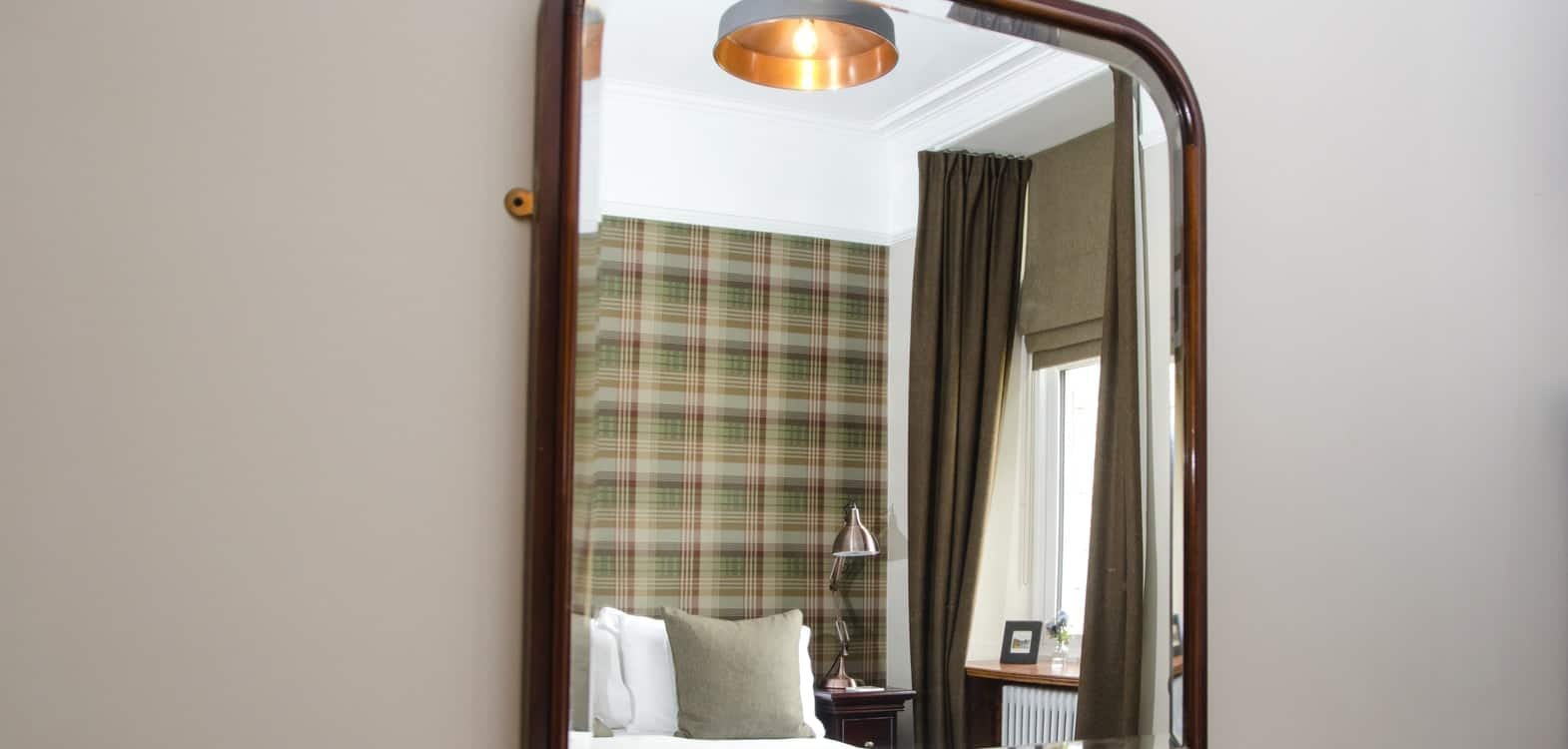 View of the Mulberry wallpaper in Skye Bedroom at Firhall Bed & Breakfast in Grantown on Spey